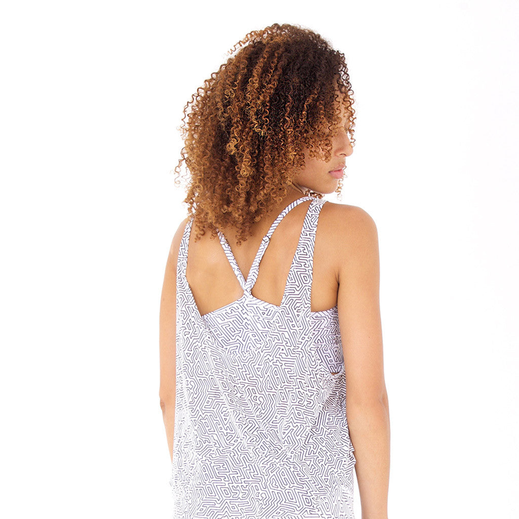 FREESTYLE TANK A-Maze II White/Black (back view) PEACEfits