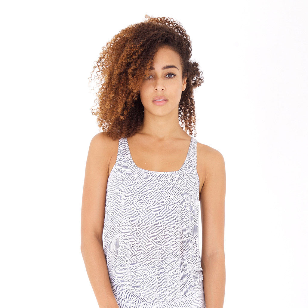 FREESTYLE TANK A-Maze II White/Black (front view) PEACEfits