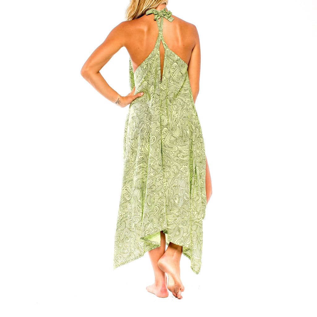 SUMMER BREEZE DRESS Natural Myst Lime (back view) PEACEfits