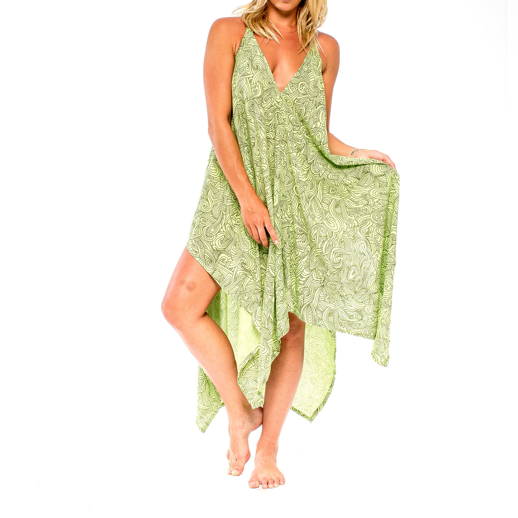 SUMMER BREEZE DRESS Natural Myst Lime (front view) PEACEfits