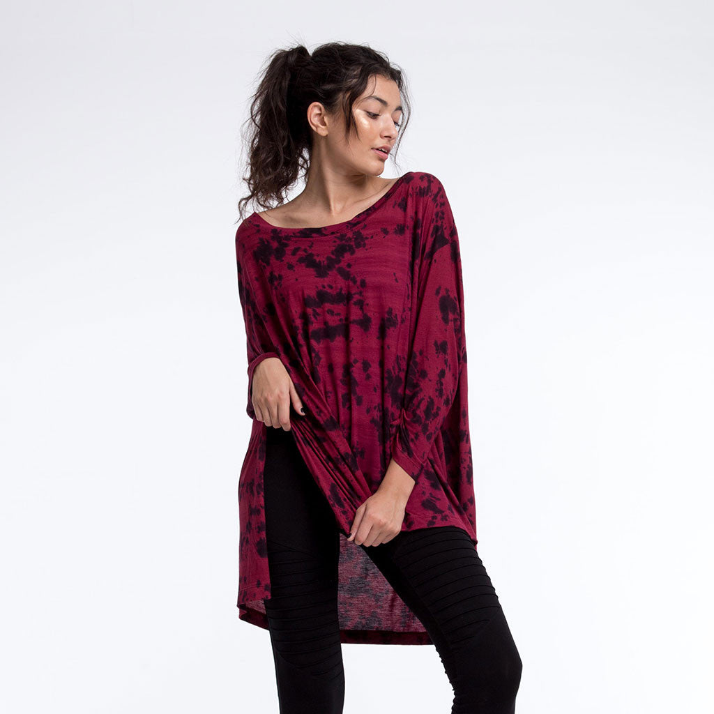 Women's Top - FREEFORM LONG SLEEVE SHIRT - Smoke Dye - Maroon Haze - PEACEfits