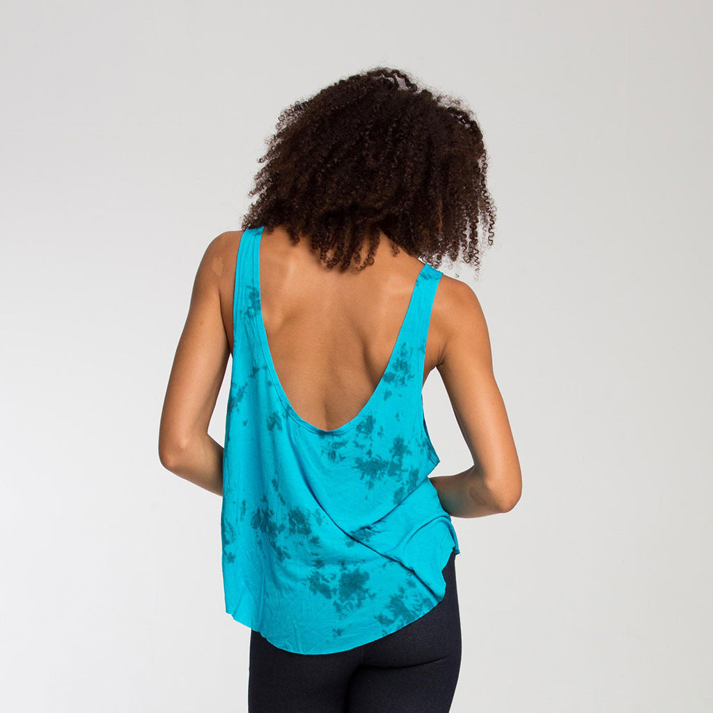 Women's Top - FREESTYLE TANK - Smoke Dye - Turquoise - PEACEfits
