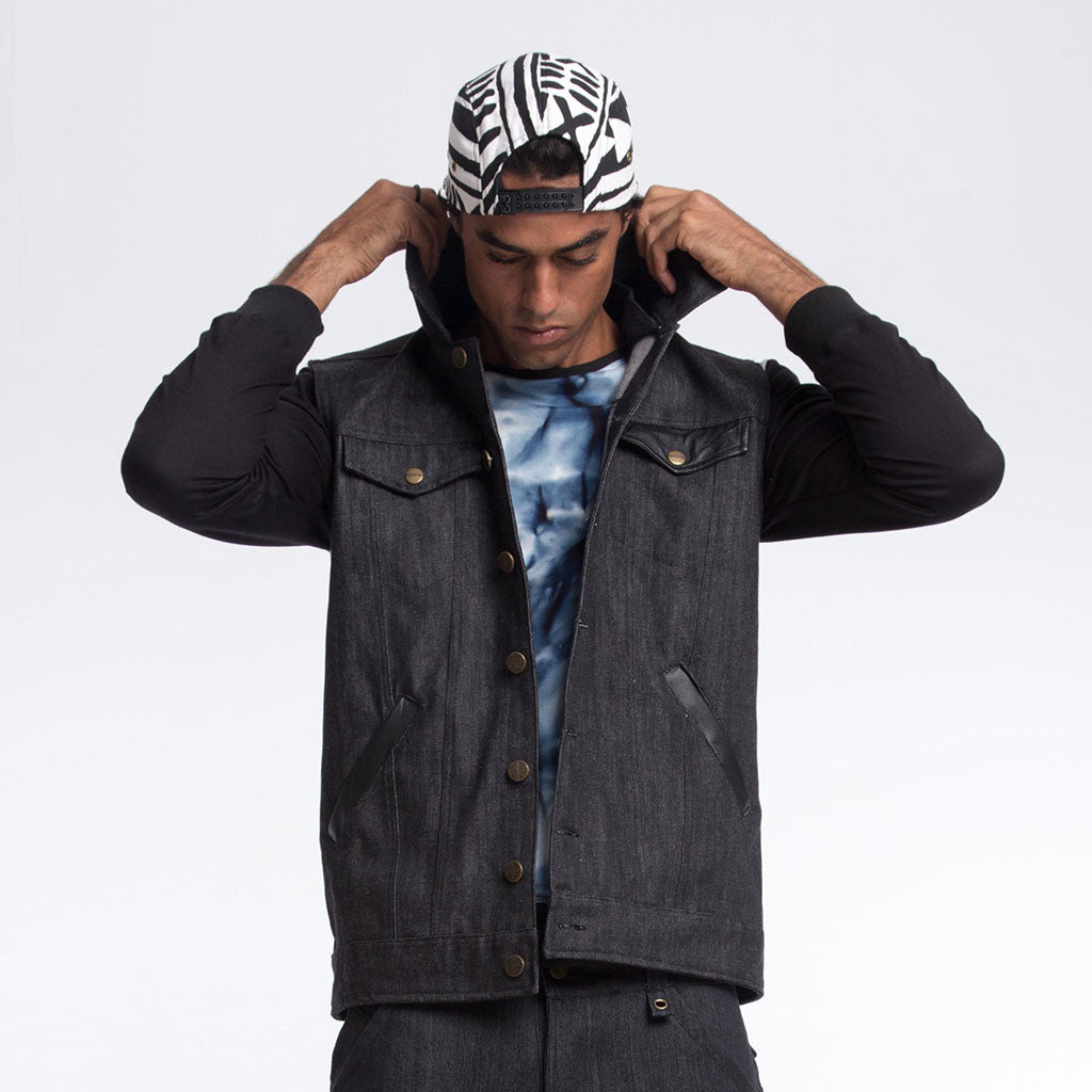 HOODED VEST [Denim] - PEACE FITS