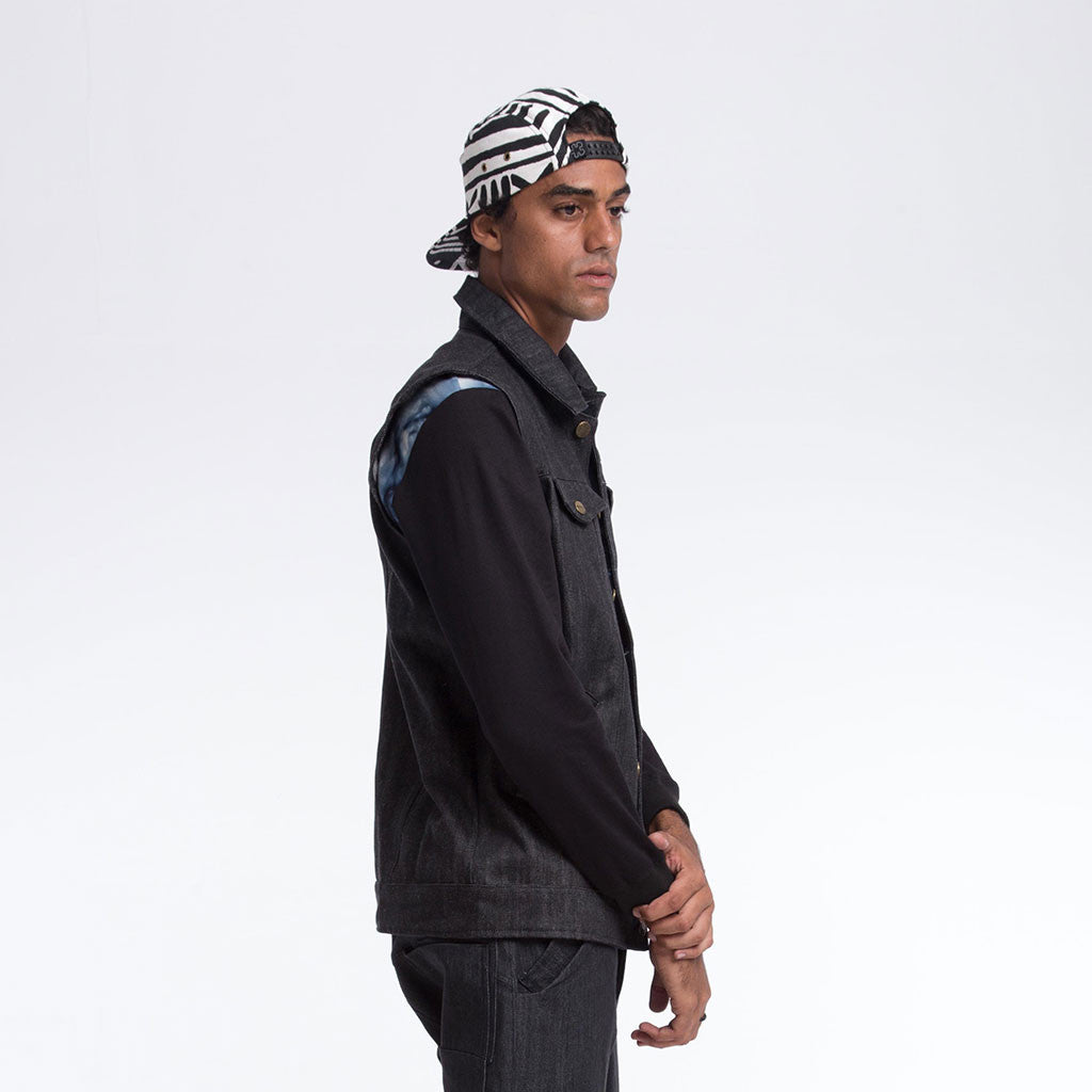Men's Outerwear - HOODED VEST - Dark Denim - Black Lining - PEACEfits