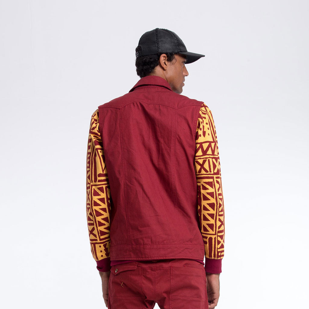 Men's Outerwear - HOODED VEST - Maroon Canvas - PuzzlePEACE Terracotta/Maroon Lining - PEACEfits