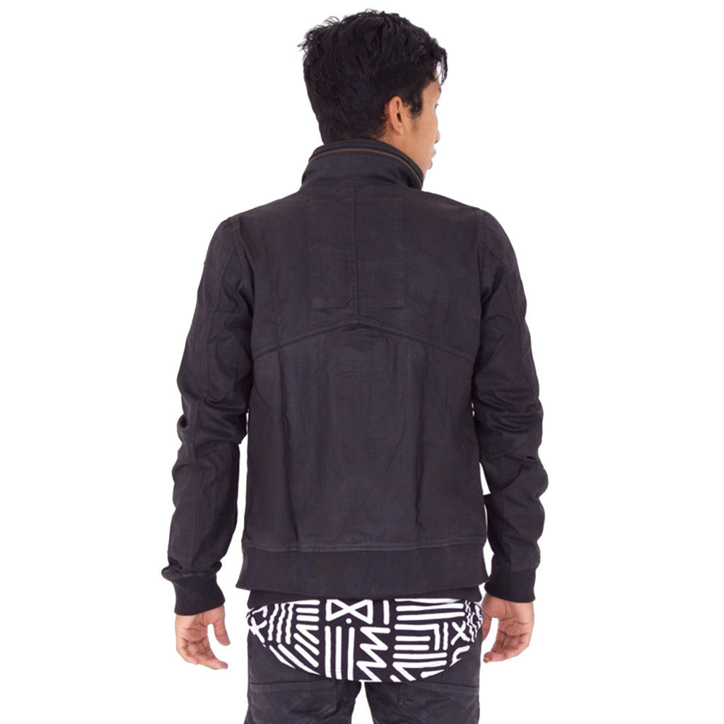 LIGHTWAVE JACKET Black Waxed (back view) PEACEfits