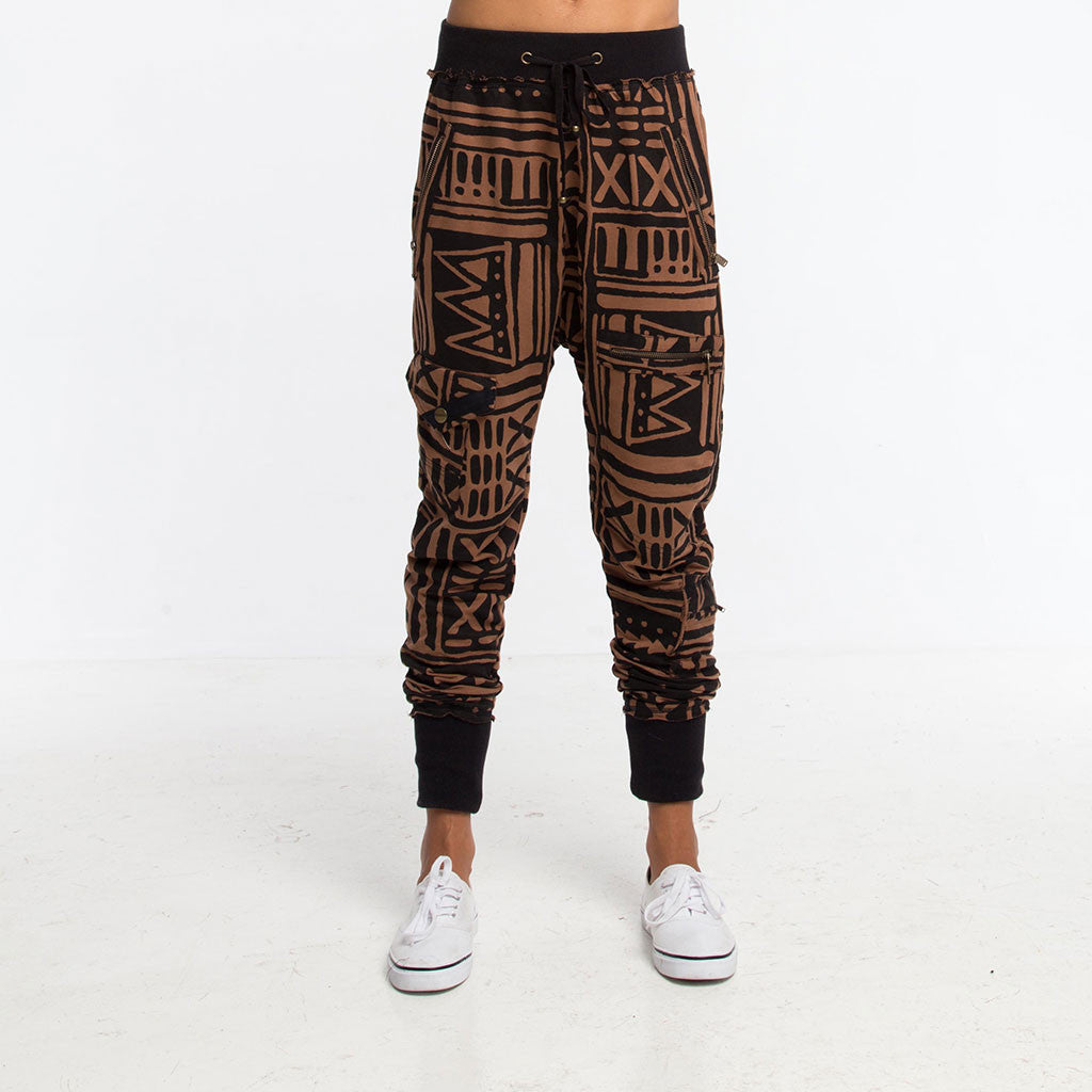 Women's Bottoms - LADY SAMURAI SWEATPANT JOGGER - X-TRiBE - Coffee/Black - PEACEfits