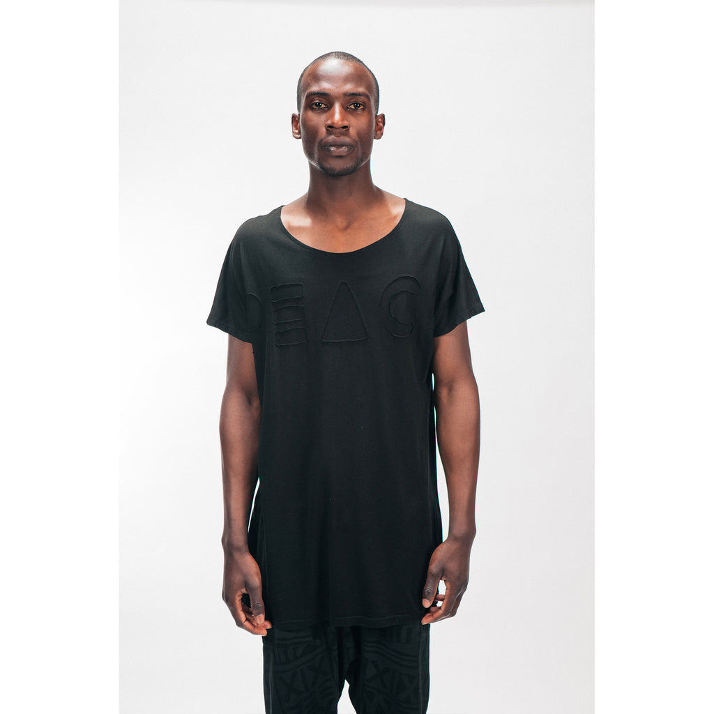 Men's Longline Single Panel Tee Shirt PEACE Cutout Logo Black Outernational PEACE FITS