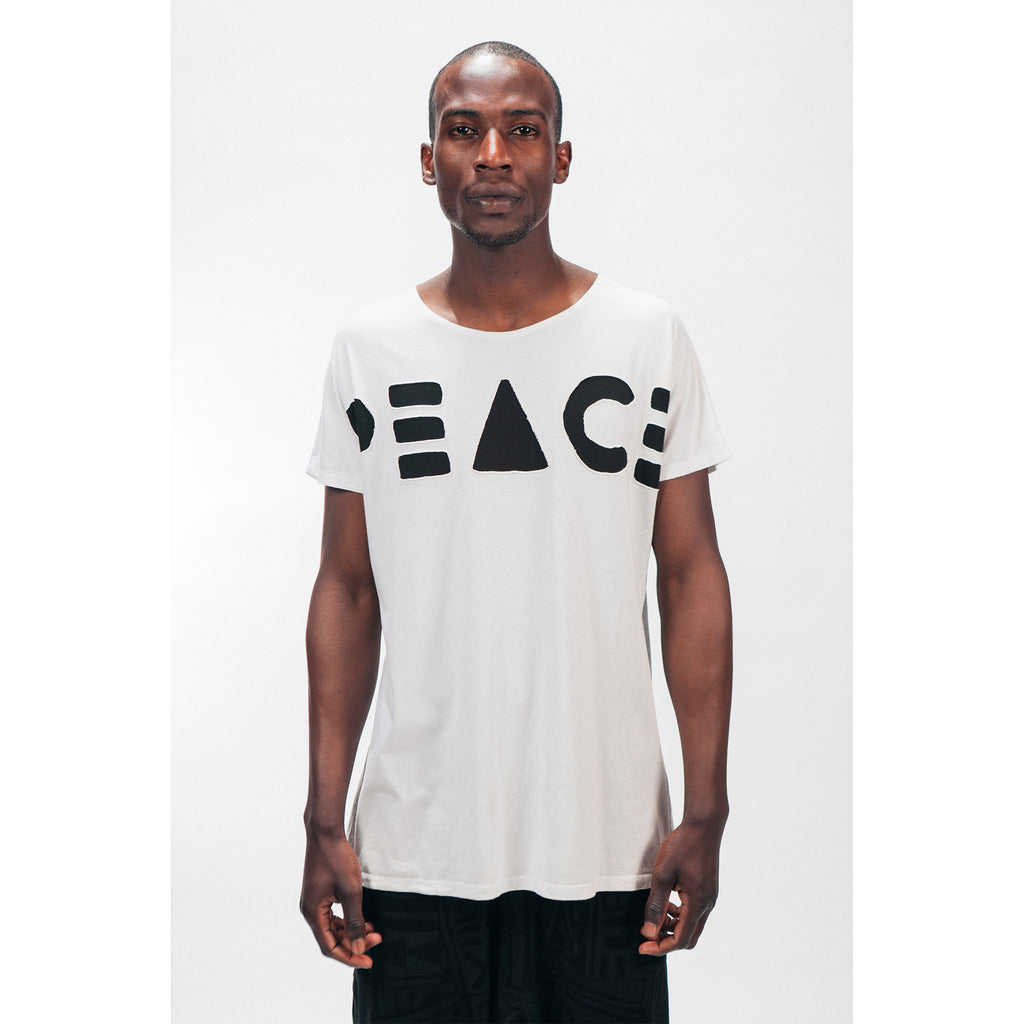 Men's Longline Single Panel Tee Shirt PEACE Cutout Logo White Black Outernational PEACE FITS