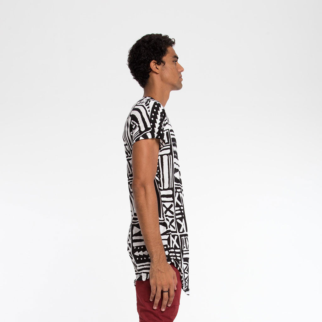 Men's Tops - LONGLINE SINGLE PANEL TEE - X-TRiBE - White/Black - PEACEfits