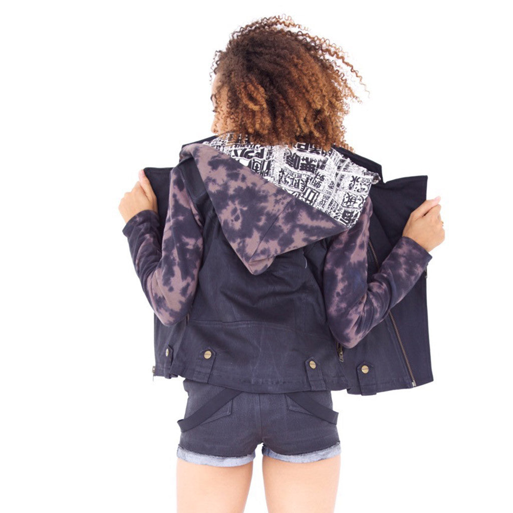 MOTO JACKET Smoke Dye Amethyst (back view) PEACEfits