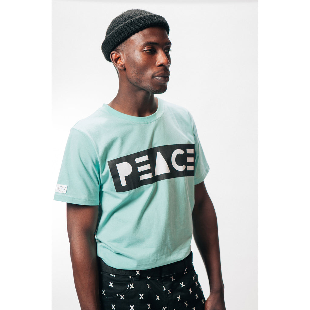 Classic Tee T-Shirt PEACE Logo Aqua Outernational PEACE FITS