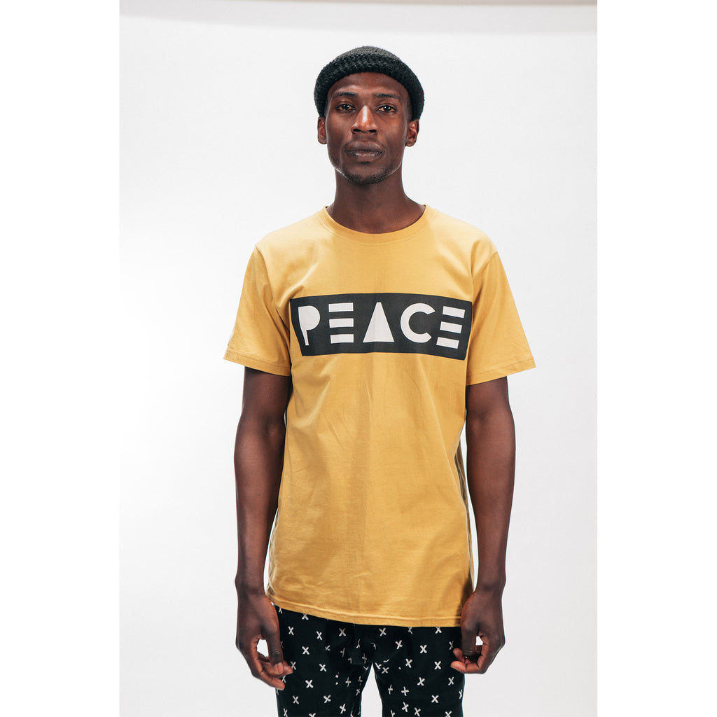 Classic Tee T-Shirt PEACE Logo Mustard Outernational PEACE FITS