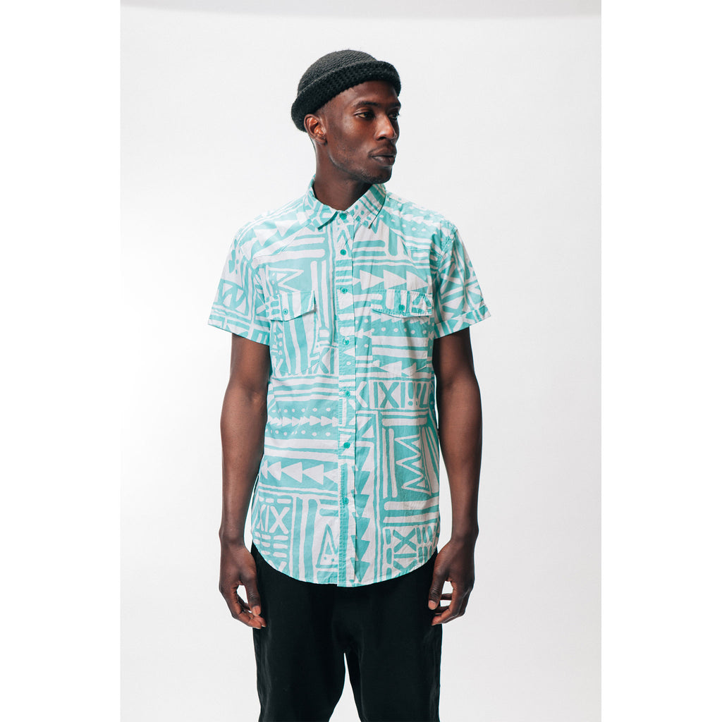 Men's Bahama Button Up Shirt X-TRiBE White Aqua Outernational Capsule PEACE FITS