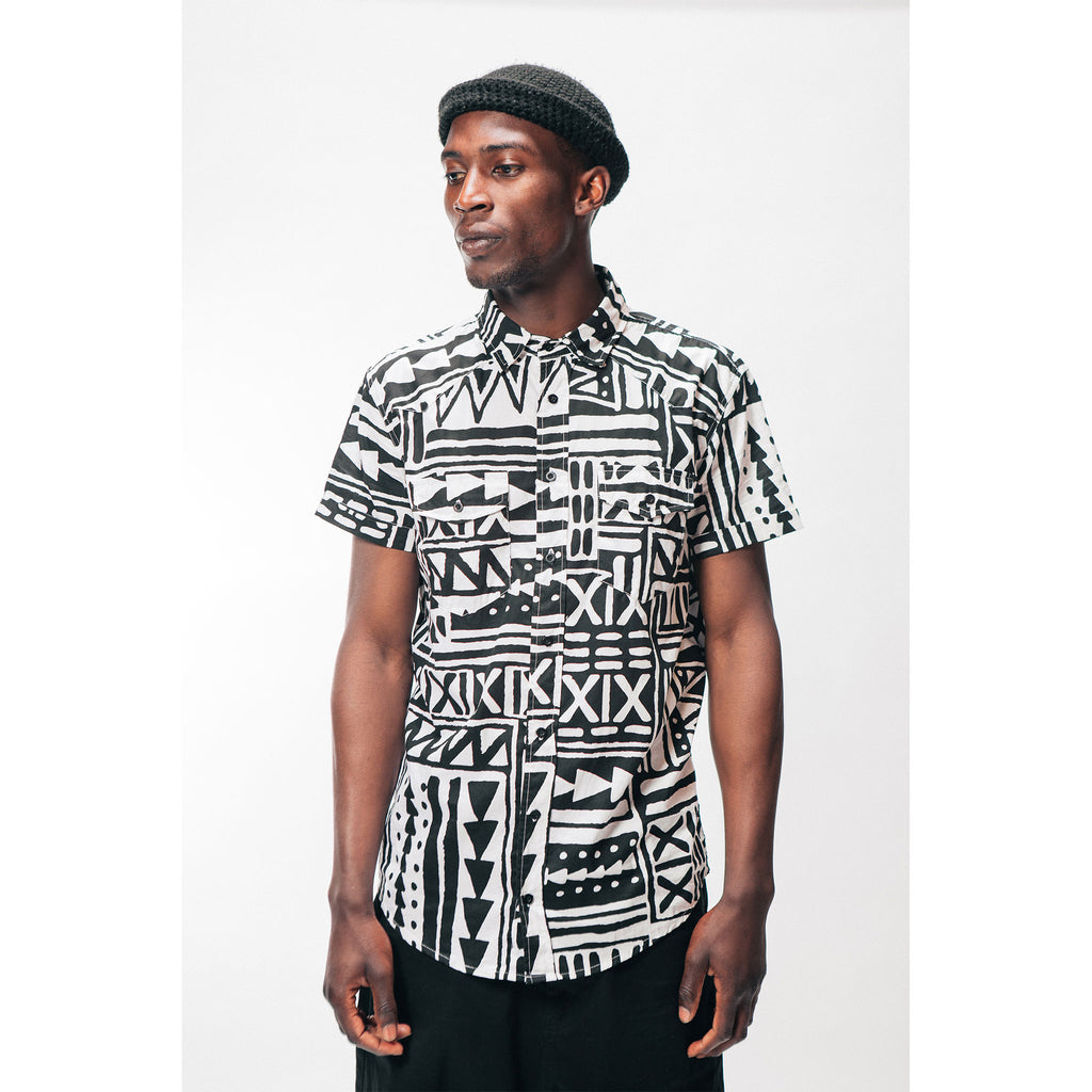 Men's Bahama Button Up Shirt X-TRiBE White Black Outernational Capsule PEACE FITS