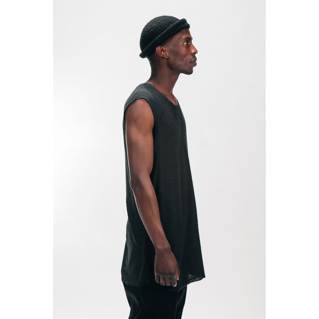 Men's Muscle Tee Knit Tank Top French Terry Black Outernational PEACE FITS