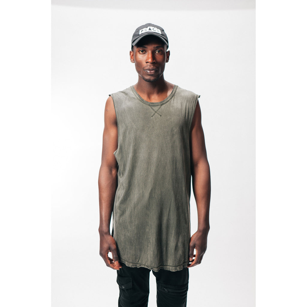 Men's Muscle Tee Tank Top Oil Wash Army Green Outernational PEACE FITS