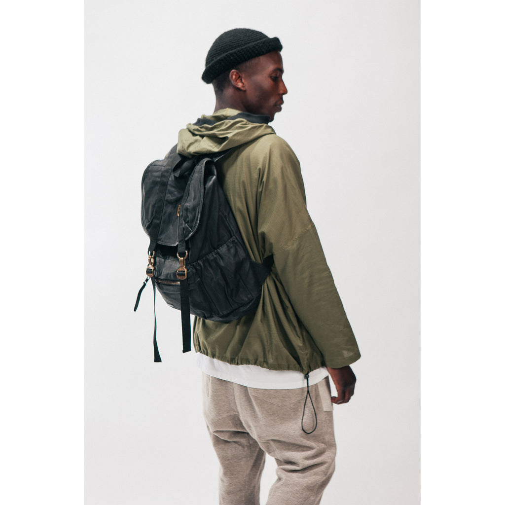 PEACE Pack Backpack Black Waxed Canvas Brass Outernational PEACE FITS