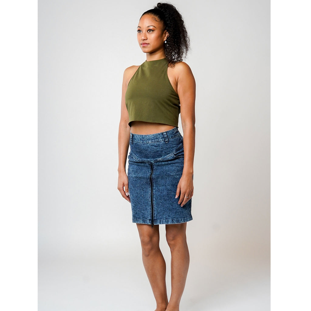Women's Pencil Skirt - Acid Wash Denim - PEACE FITS