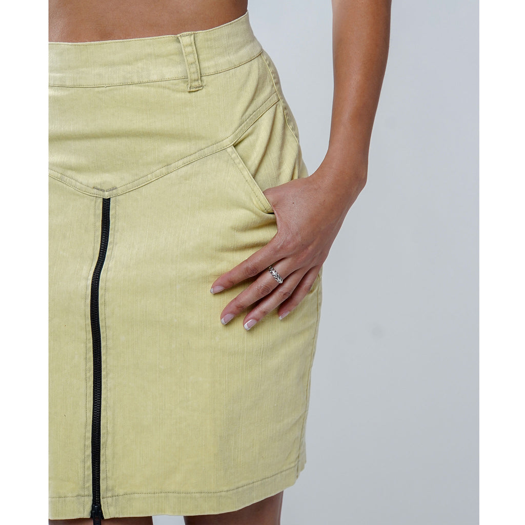 Women's Pencil Skirt - Acid Wash Khaki - PEACE FITS
