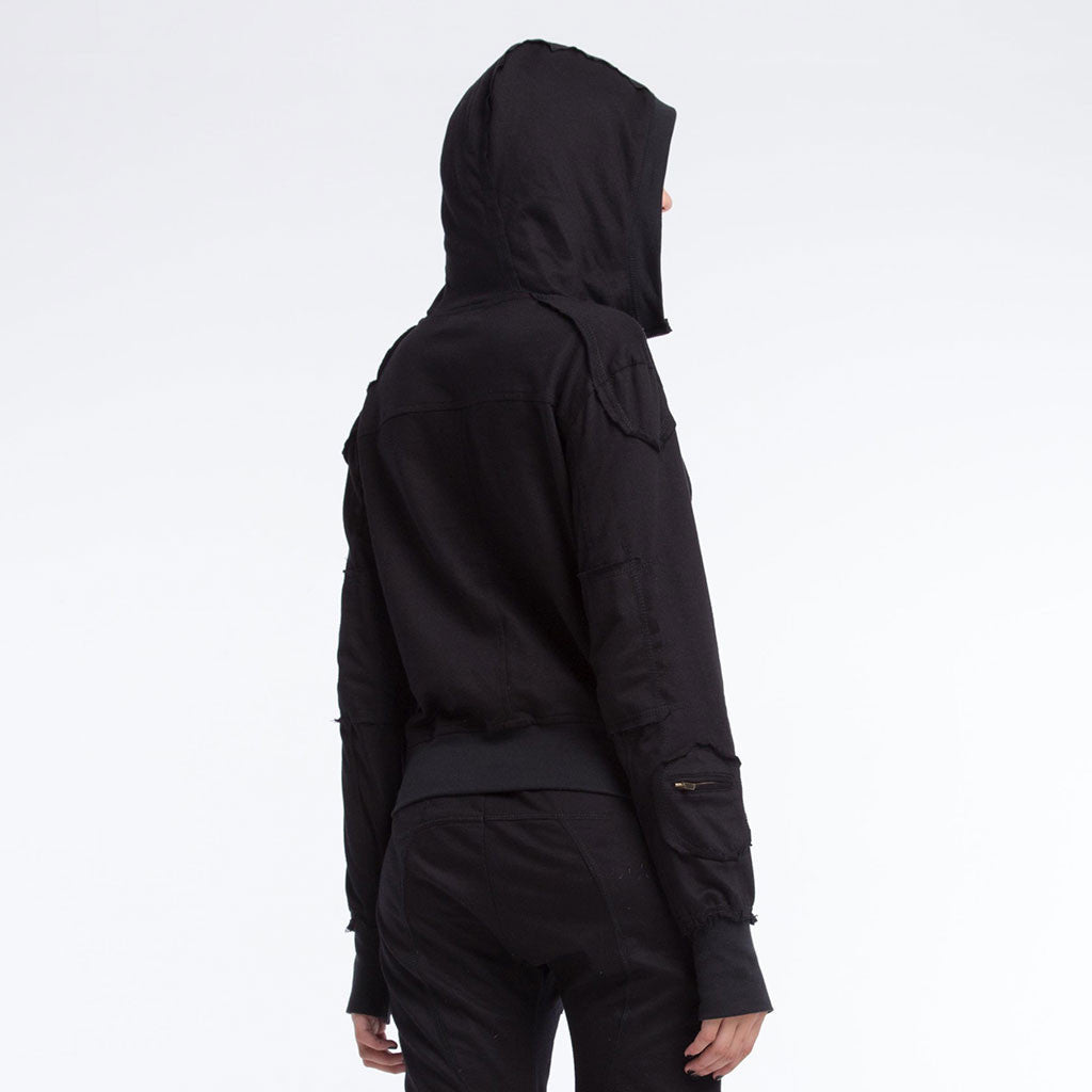 Women's Outerwear - LADY SAMURAI HOODIE - Solid Black - PEACEfits