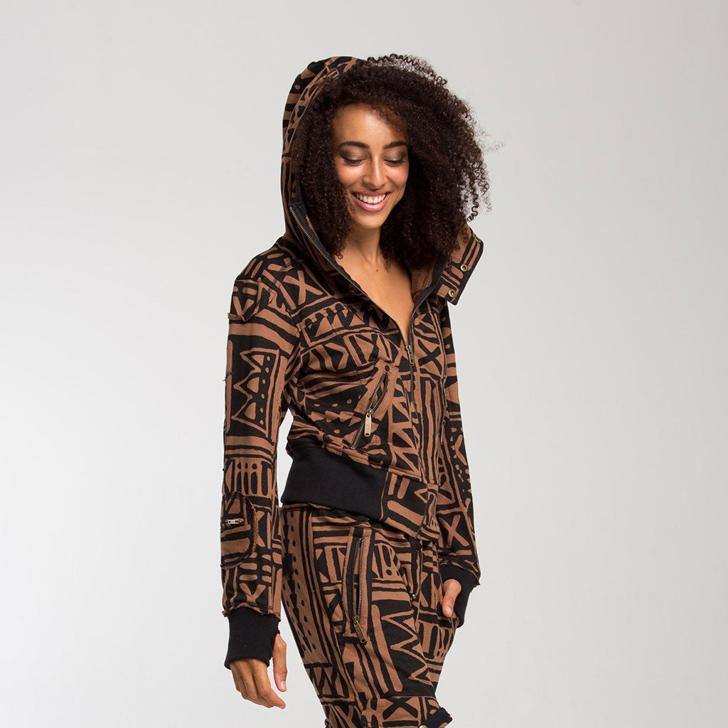 Women's Outerwear - LADY SAMURAI HOODIE - X-TRiBE - Coffee/Black - PEACEfits