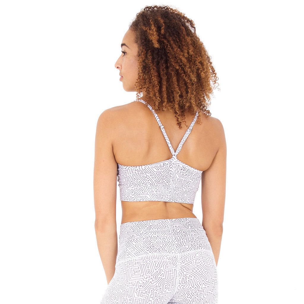 SPORTS BRA A-Maze II White/Black (back view) PEACEfits