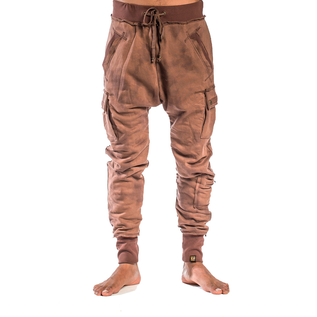 SAMURAI SWEATPANT Smoke Dye Coffee Drip (front view) PEACEfits