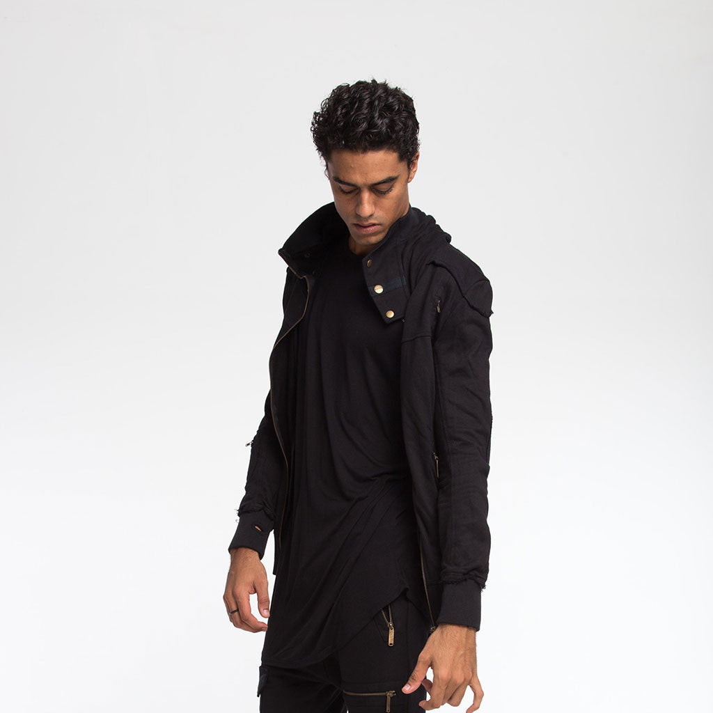 Men's Outerwear - SAMURAI HOODIE - Solid Black - PEACEfits