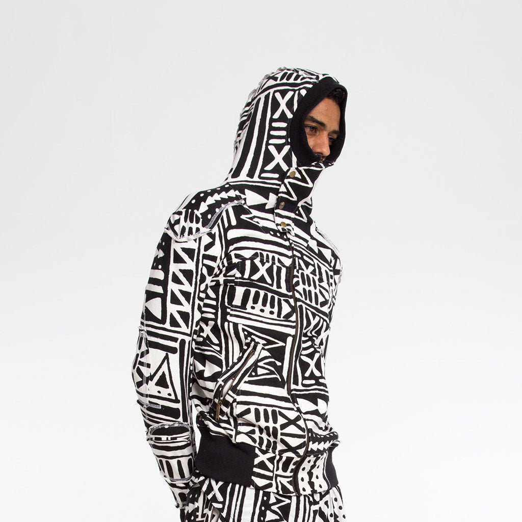 Men's Outerwear - SAMURAI HOODIE - X-TRiBE - White/Black PEACEfits