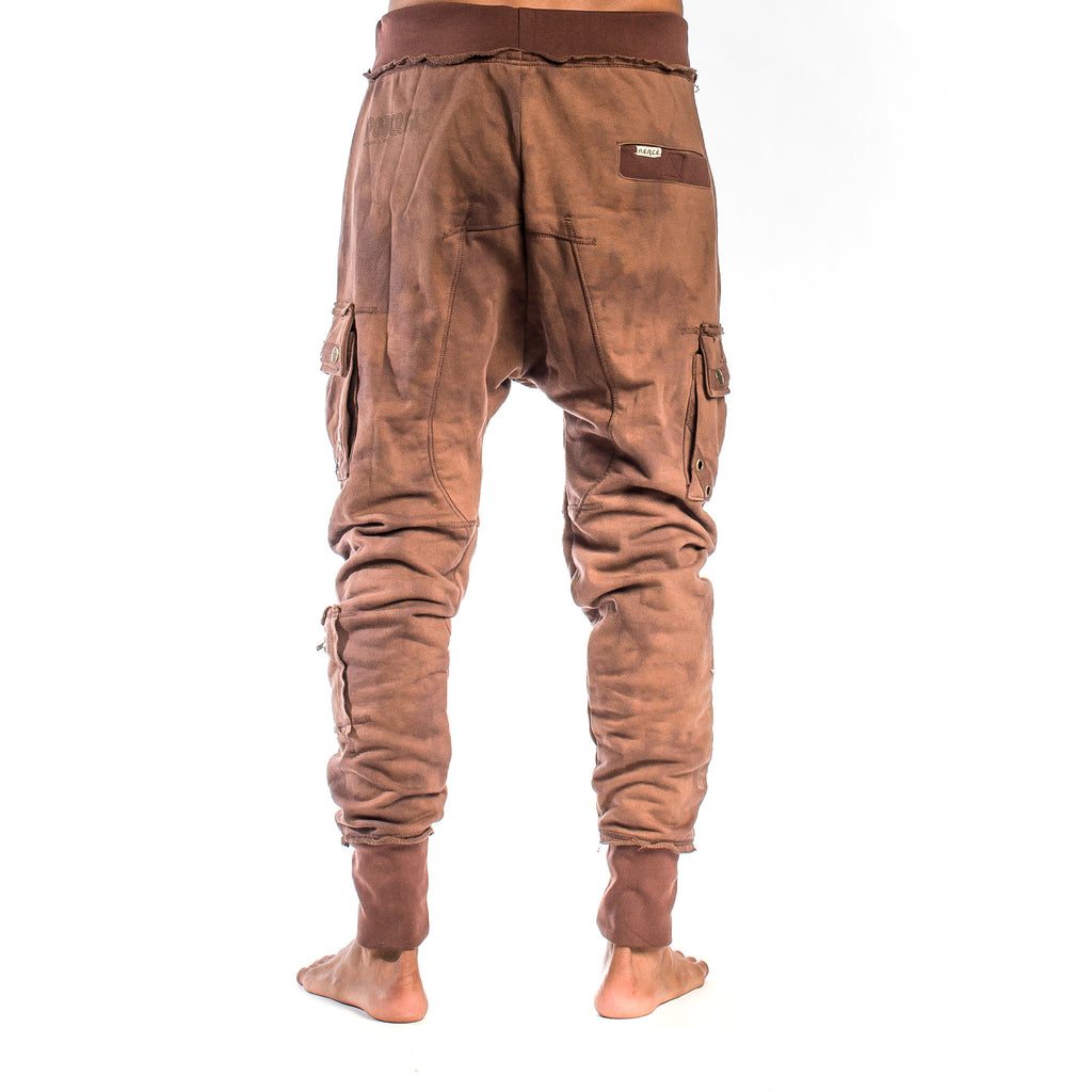 SAMURAI SWEATPANT Smoke Dye Coffee Drip (back view) PEACEfits