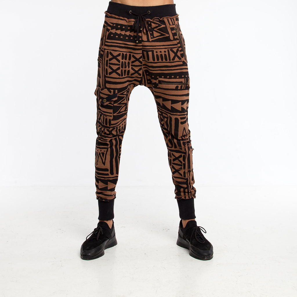 Men's Bottoms - SAMURAI SWEATPANT - X-TRiBE - Coffee/Black - PEACEfits