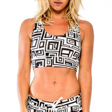 TIE-BACK CROP TOP BIG FUNK White/Black (front view) PEACEfits