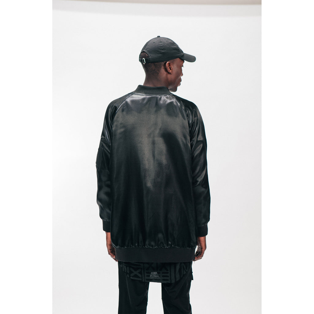 Unisex Longline Bomber Jacket Black Reversible Satin Mesh Outernational PEACE FITS