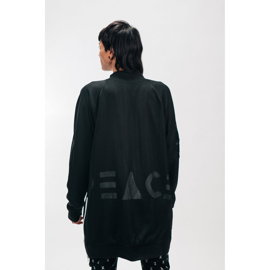 Unisex Longline Bomber Jacket Black Reversible Satin Mesh White Zippers Outernational PEACE FITS