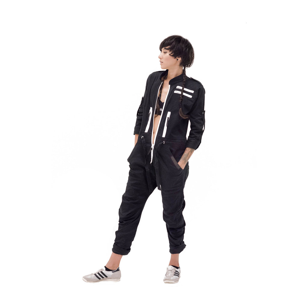 Boiler Suit OnePEACE Black & White Zippers Outernational PEACE FITS