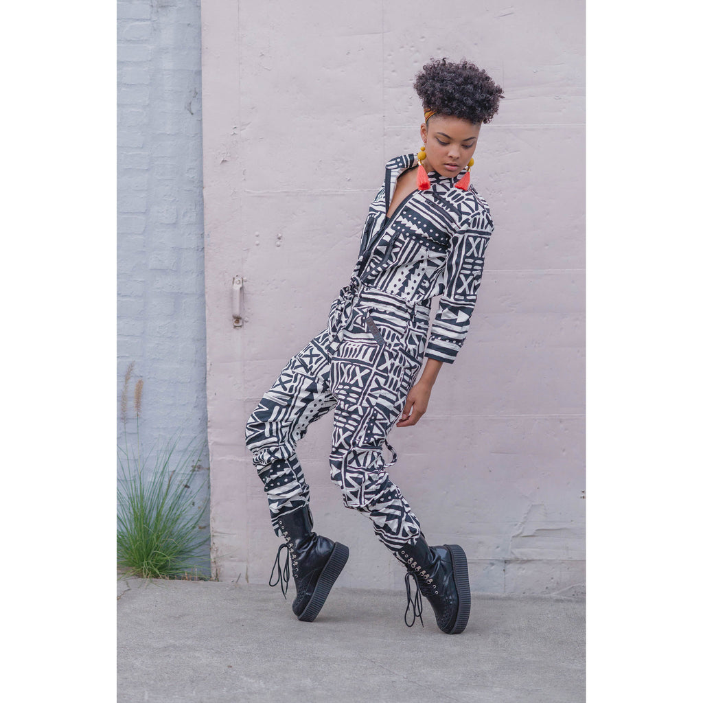 Megan Gage in Boiler Suit OnePEACE X-TRiBE White Black Outernational PEACE FITS