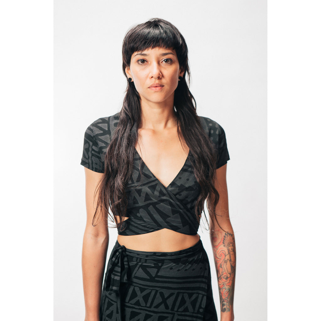 Women's Wrap Crop Top X-TRiBE Black Outernational PEACE FITS