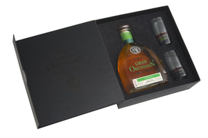 Gran Orendain Añejo 100% Agave Ultra-Premium Individual box with two tequila glasses
