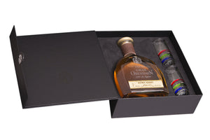 Gran Orendain Extra Añejo 100% Agave Ultra-Premium Individual box with two tequila glasses