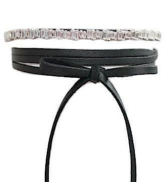 Notte Crystal & Leather Choker
