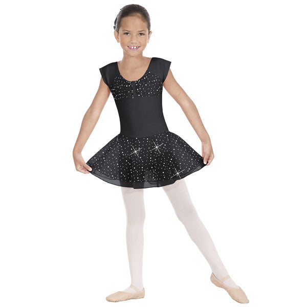 Sparkle Short Sleeve Leotard with Skirt (Black) - Dancer's Wardrobe