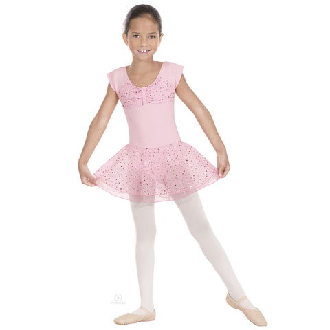 Sparkle Short Sleeve Leotard with Skirt (Pink) - Dancer's Wardrobe