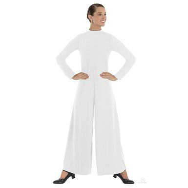 Adult High Neck Jumpsuit (White) - Dancer's Wardrobe
