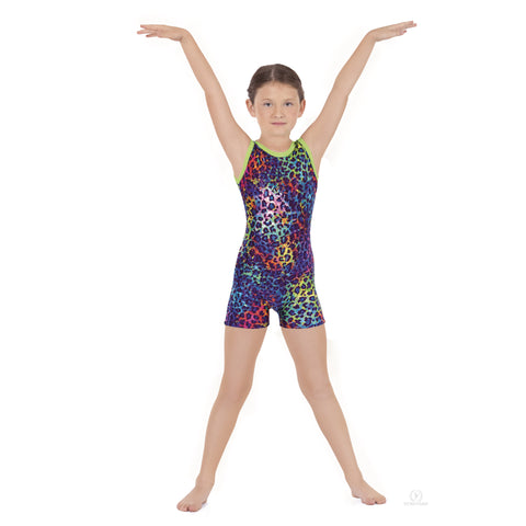 Disco Leopard Gymnastic Biketard - Dancer's Wardrobe