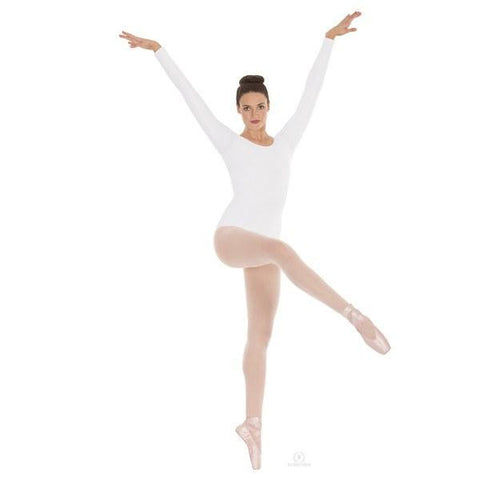 Adult Long Sleeve Leotard Microfiber (White) - Dancer's Wardrobe