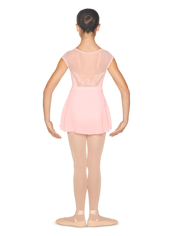 """Jezebel"" Cap Sleeve Leotard with Attached Skirt - Child Size 4-6"
