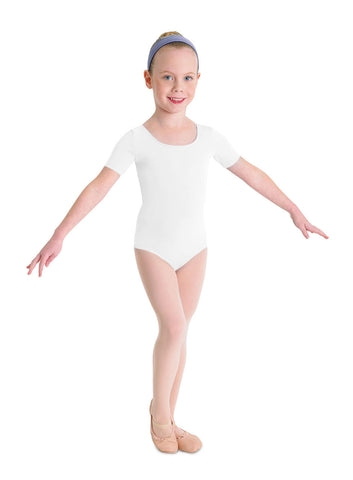 Child Basic Short Sleeve Leotard (White) cl5402 - Dancer's Wardrobe