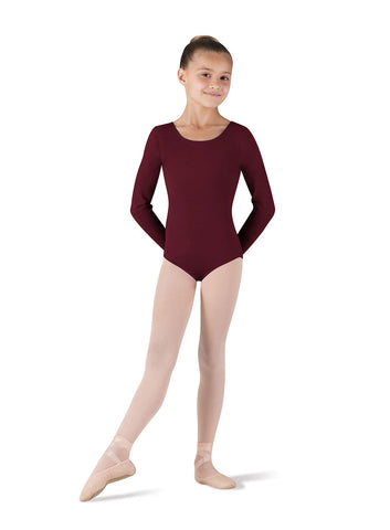 Child Basic Long Sleeve Leotard (Burgundy) CL5409 - Dancer's Wardrobe
