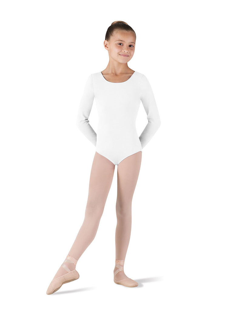 Child Basic Long Sleeve Leotard (White) CL5409 - Dancer's Wardrobe